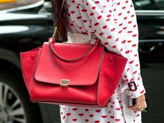 Red lips, red bag     Spring 2013 Fashion Week Street Style - Photos of NYFW Street Style - Marie Claire