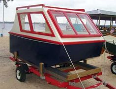 With a filler over the foot-well she has a berth in her that was very comfortable to sleep in. At the end of the trip I told Tim th. Plywood Boat Plans, Wooden Boat Plans, Wooden Boats, Cool Boats, Small Boats, Speed Boats, Power Boats, Shanty Boat, Wooden Boat Building