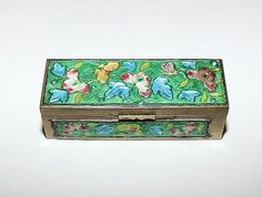 Vintage Chinese Cloisonne Brass Enamel Stamp Box - Temple • CAD ...