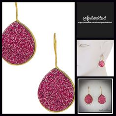 """Boho Genuine Druzy Gold Earrings NEW WITH TAGS $148  Gorgeous Druzy & Gold Vermeil Teardrop Earrings  * Gorgeous gold vermeil bezel set teardrop genuine Druzy earrings.   * Sparkling deep fuscia pink colored druzy.  * Approx 1.75"""" long.  * French hook back 9350 ***Minor imperfections due to natural materials & each pair is unique Material:14k gold plated over sterling silver with pink rose druzy, 40.00 ctw.  # Pastel No Trades ✅ Offers Considered*/Bundle Discounts✅ *Please use the 'offer'…"""