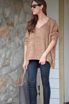 4a515d78176e6 ROMWE Women s Basic Long Sleeve V-Neck Knit Loose Casual Oversized Sweater  at Amazon Women s Clothing store