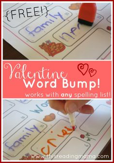FREE Valentine Word Bump! ~ works with any spelling list   This Reading Mama