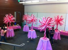 Pink & White Twisted 260Q Table Centre Pieces