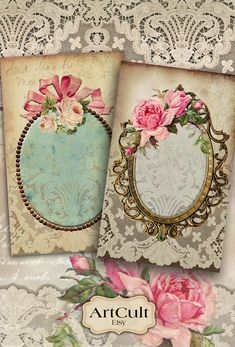VICTORIAN ROYAL FRAMES - Printable Digital images downloadable sheet jewelry holders greeting cards gift tags Art Cult scrapbook graphics