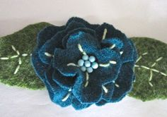 Flower scarf made from felted sweaters
