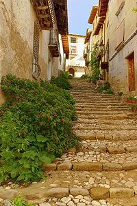 Old and typical street in Valderrobres Teruel, Spain