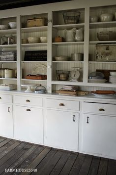 doors removed and faux beadboard in the back via FARMHOUSE 5540: