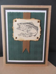 Large MOUTH BASS FISH Paper Card for Him by PatsPaperCrafts on Etsy