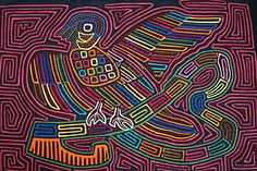 """Kuna Mola Geometric Hand stitched Applique Art Huge sz 20x14"""" Parrot Maze 36B. If you cannot  locate this listing, please contact us at cheetahdmr@aol.com"""
