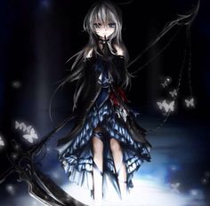 Anime Girl with Long Silber hair ~*-*