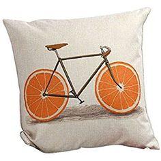 Katara Decor - Orange Slice Bike Throw Pillow Case Cover 18x18 Inches