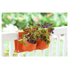Deck Rail 6 Pocket Rectangular Hanging Planter Bag - Chocolate (Brown) - Bloem