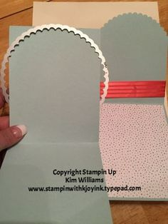 Stampin Up Circle Framelits Collection. THis is how ot make a half scallop on the front flap of a card. Great card idea to make it special and unique technique. Soft sky cardstock and watermelon wonder satin ribbon. Kim Williams www.stampinwithkjoyink.typepad.com