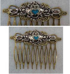 Gold Celtic Claddagh Hair Comb NEW Hair Pin Comb Handmade Wood Blue silver #Handmade #HairComb