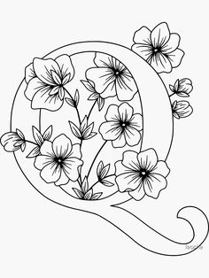 Embroidery Alphabet, Free Motion Embroidery, Embroidery Art, Floral Letters, Monogram Letters, 26 Letters, Floral Embroidery Patterns, Embroidery Designs, Alphabet Coloring