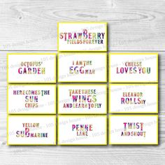 INSTANT DOWNLOAD The Beatles Labels Printable - Food Labels - The Beatles Food…