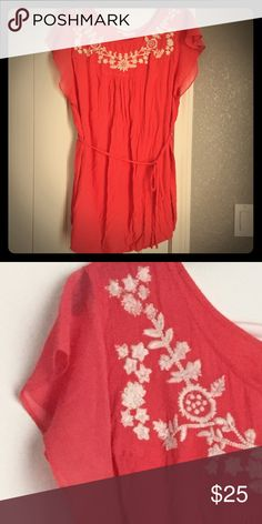 🌟SALE🌟Fun flutter sleeve maternity blouse w/ tie Flutter sleeve blouse with tie. Fabric is wonderfully soft and comfy. Loose and flowy with plenty of room for your baby bump to grow! Top is coral with beautiful embroidery along the neckline. It was worn a handful of times, washed in cold water, gentle cycle, always hung dry. Very well taken care of, not faded or misshaped. Super cute top!! Motherhood Maternity Tops Blouses