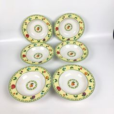 Victoria and Beale Savannah Soup Bowls Set of 6 Porcelain Fruit Flowers 8 5/8 in #VictoriaBeale #FruitandFlowers #soup