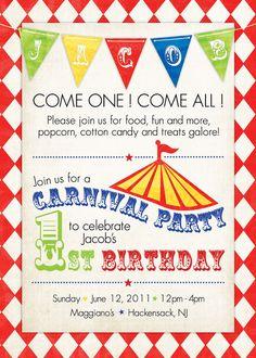 Boy Carnival or Circus Birthday Invitation