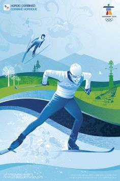 Vancouver 2010 Olympics Poster Nordic Combined Skiing, Ski Jumping NEW