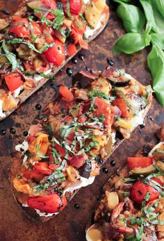Summer Ratatouille Tartines with Burrata and Honey-Balsamic Drizzle. Love these for casual summer entertaining. (Try making them on crostini for a simple appetizer!)