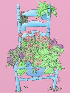 cadira,silla,naturaleza,flores