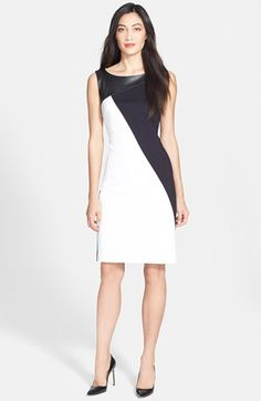 black and white embossed leather ponte sheath dress