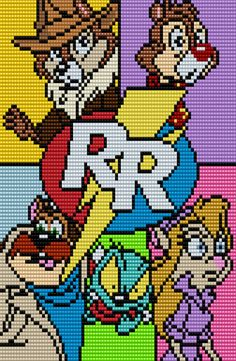 CHIP 'N DALE RESCUE RANGERS Poster Square Grid  Pattern 84 Columns X 100 Rows (Pattern by me, Man in the Book) Minecraft Pattern, Pixel Pattern, Perler Bead Templates, Perler Patterns, Easy Pixel Art, Disney Cross Stitch Patterns, Crochet Granny Square Afghan, Crochet Disney, Peler Beads
