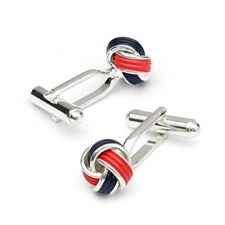 Red And Black Knot Cufflinks :- In this product red and black belt are twisted to create a unique knot.