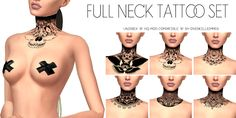 Sims 4 CC's - The Best: Full Neck Tattoo Set by Overkill Simmer - Sims 4 CC's – The Best: Full Neck Tattoo Set by Overkill Simmer - neck tattoos Les Sims 4 Pc, The Sims 2, Sims 4 Mm Cc, Sims 4 Cas, Mods Sims, Full Neck Tattoos, Hand Tattoos, Neck Tattoo Female, Sleeve Tattoos
