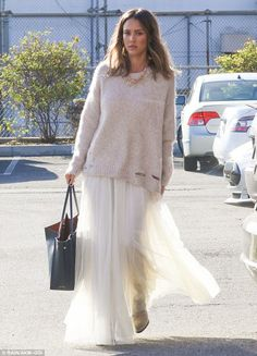 Working woman: Jessica Alba, 34,arrived at The Honest Company's headquarters in Santa Mon...