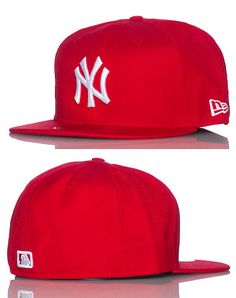 NEW ERA MENS NEW YORK YANKEE MLB FITTED CAP Red Yankees Gear f6e35b3b7fb1