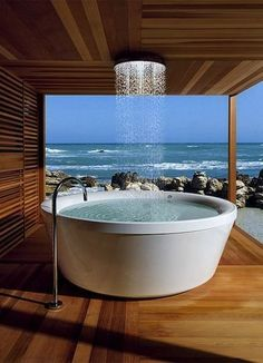 Designers Tell All: Today's Top 10 Bathroom Trends. Spa features- sunken tubs, steam showers, and rain heads