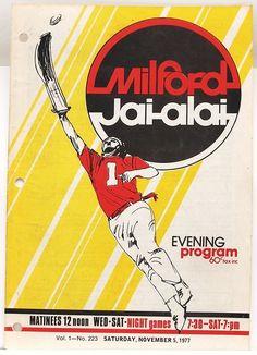 MILFORD CT Jai-Alai Program November 5 1977 - Very Good Condition | eBay
