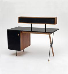 #Greta_Magnusson_Grossman, #Desk with storage unit, 1952-54. Walnut, iron, formica. Glenn of California, USA.