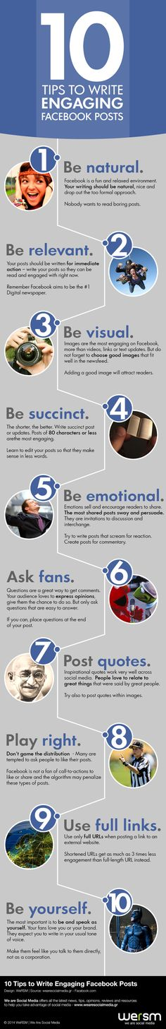 10 Tips to Write Engaging Facebook Posts For more tips and resources visit www.socialmediamamma.com Facebook Infographic