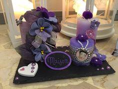 composizione candele in viola/lilla
