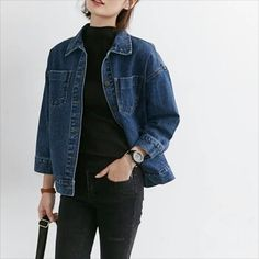 bought a dark denim jacket like this one in a secondhand shop yesterday. i'm so in love with it and happy that i finally found a nice one Mode Outfits, Casual Outfits, Fashion Outfits, Womens Fashion, Style Fashion, Mode Style, Style Me, Mode Ulzzang, Looks Jeans