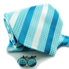 Teal Tie with Cufflinks