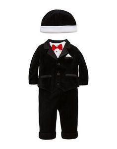 Little Me Four-Piece Tuxedo Jacket, Bodysuit, Pant and Beanie Set  Bla