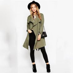 Winter Coats Women, Coats For Women, New Look Coats, Green Trench Coat, Spring Fashion Casual, Types Of Fashion Styles, Army Green, Clothes, Fashion 2016