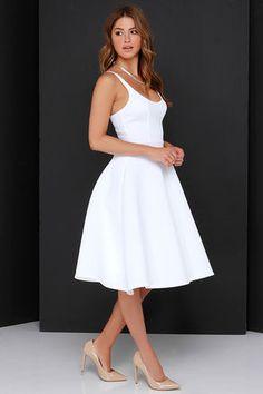 Chic Ivory Dress - Midi Dress - Fit-and-Flare Dress - $74.00