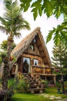 adorable farmhouse cottage design ideas and decor 34 Hut House, Tiny House Cabin, Tiny Log Cabins, Cabins And Cottages, Bamboo House Design, Tiny House Design, Log Cabin Designs, Jungle House, A Frame House