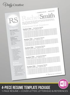 Modern Resume  Cover Letter Template  Editable Word Format