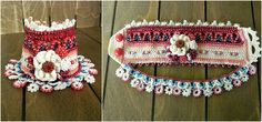 Freeform Crochet Bracelet Cuff with Beads and Flowers