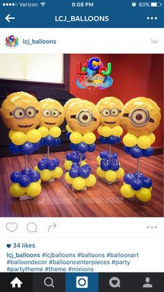 Balloons Minions Birthday Theme, Birthday Balloons, 2nd Birthday Parties, Despicable Me Party, Minion Party, Diy Birthday Decorations, Balloon Decorations, Minion Centerpieces, Minion Balloons