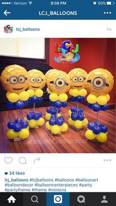 Balloons Minions Birthday Theme, Minion Theme, 2nd Birthday Parties, Despicable Me Party, Minion Party, Diy Birthday Decorations, Balloon Decorations, Minion Centerpieces, Minion Balloons