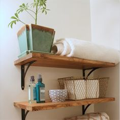 Create chic storage space in your home with these DIY rustic/industrial shelves.