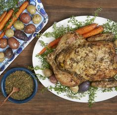 Za'atar Roast Chicken. A Jewish holiday table isn't truly complete without a beautiful roast chicken dish. We wanted a recipe for our Hanukkah chicken that would be meaningful for the holiday, so we looked to the Torah for inspiration. We came up with a very easy recipe that uses the traditional Middle Eastern spices of Za'atar and Hyssop, two spices with just enough biblical reference to make it special. So moist & delicious! #hanukkah #chanukkah #chicken #zaatar #festivaloflights