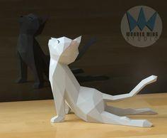 Animal (License) – Wonder Ming Studio 3d Paper Art, Origami Paper Art, 3d Paper Crafts, 3d Origami, Diy Paper, Diy And Crafts, Yoga Cat, 3d Printer Designs, Cat Statue